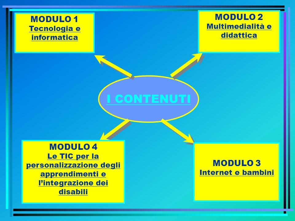 I CONTENUTI MODULO 3 Internet e bambini MODULO 2 Multimedialità e didattica MODULO 4 Le TIC per la personalizzazione degli apprendimenti e lintegrazio