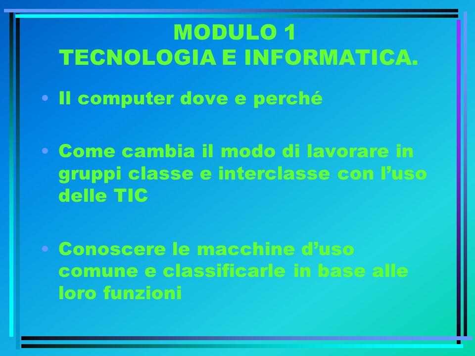 MODULO 1 TECNOLOGIA E INFORMATICA. Il computer dove e perché Come cambia il modo di lavorare in gruppi classe e interclasse con luso delle TIC Conosce