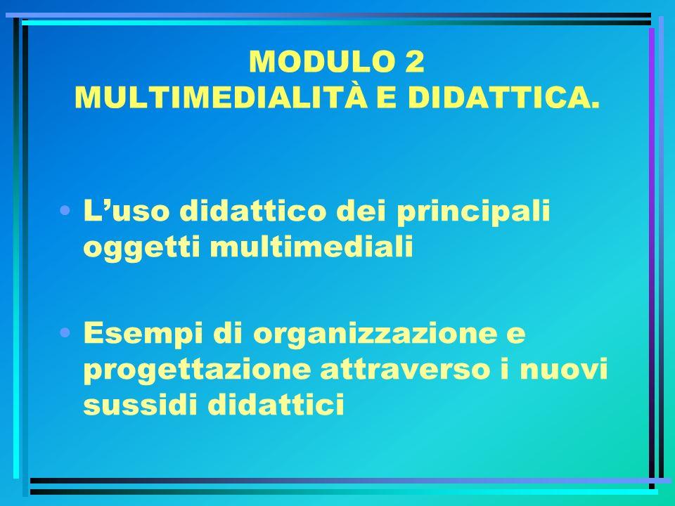 MODULO 2 MULTIMEDIALITÀ E DIDATTICA. Luso didattico dei principali oggetti multimediali Esempi di organizzazione e progettazione attraverso i nuovi su