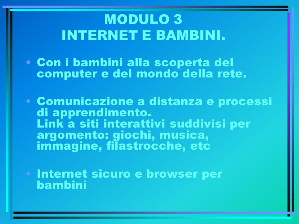 MODULO 3 INTERNET E BAMBINI. Con i bambini alla scoperta del computer e del mondo della rete. Comunicazione a distanza e processi di apprendimento. Li