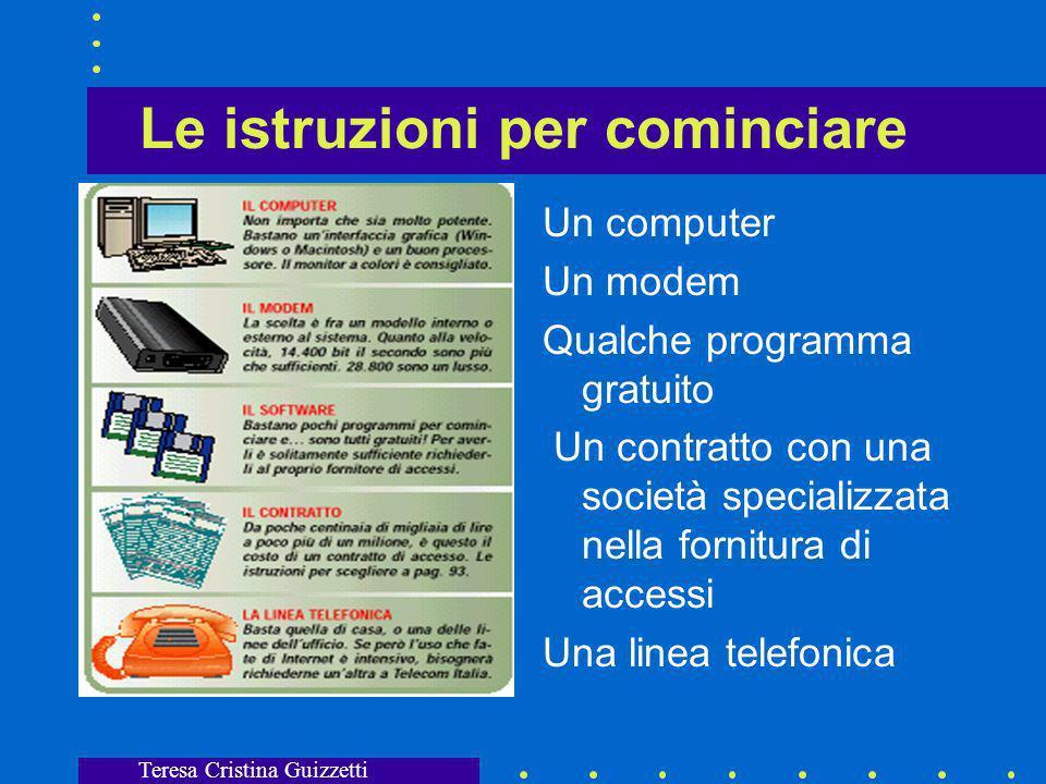 Teresa Cristina Guizzetti Assegnazione di indirizzi IP Un utente privato deve richiedere lindirizzo IP ad un ISP (Internet Service Provider) o fornitore di connettività