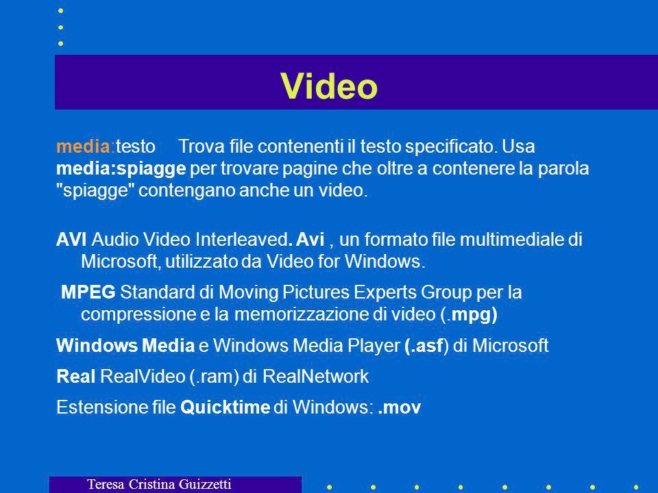Teresa Cristina Guizzetti Suoni media:testo Trova file contenenti testo specifico.