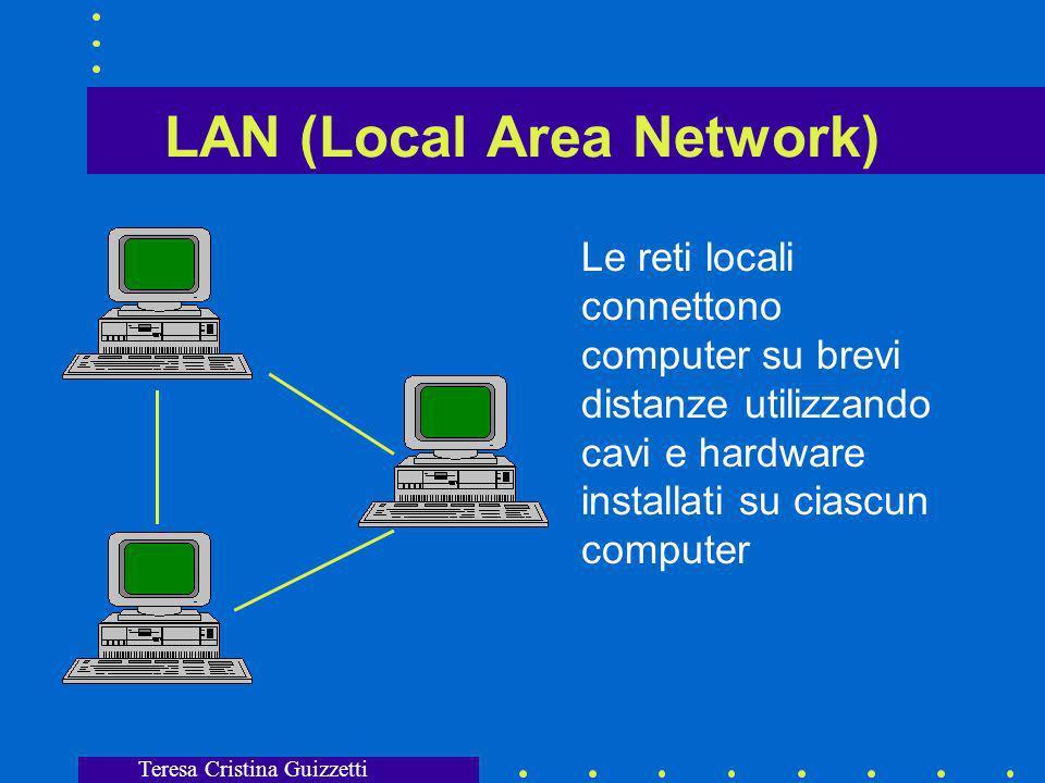 Teresa Cristina Guizzetti LAN (Local Area Network) Le reti locali connettono computer su brevi distanze utilizzando cavi e hardware installati su ciascun computer