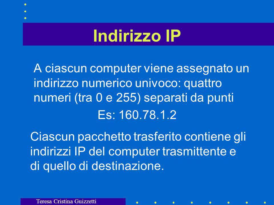 Teresa Cristina Guizzetti Indirizzo IP A ciascun computer viene assegnato un indirizzo numerico univoco: quattro numeri (tra 0 e 255) separati da punti Es: 160.78.1.2 Ciascun pacchetto trasferito contiene gli indirizzi IP del computer trasmittente e di quello di destinazione.