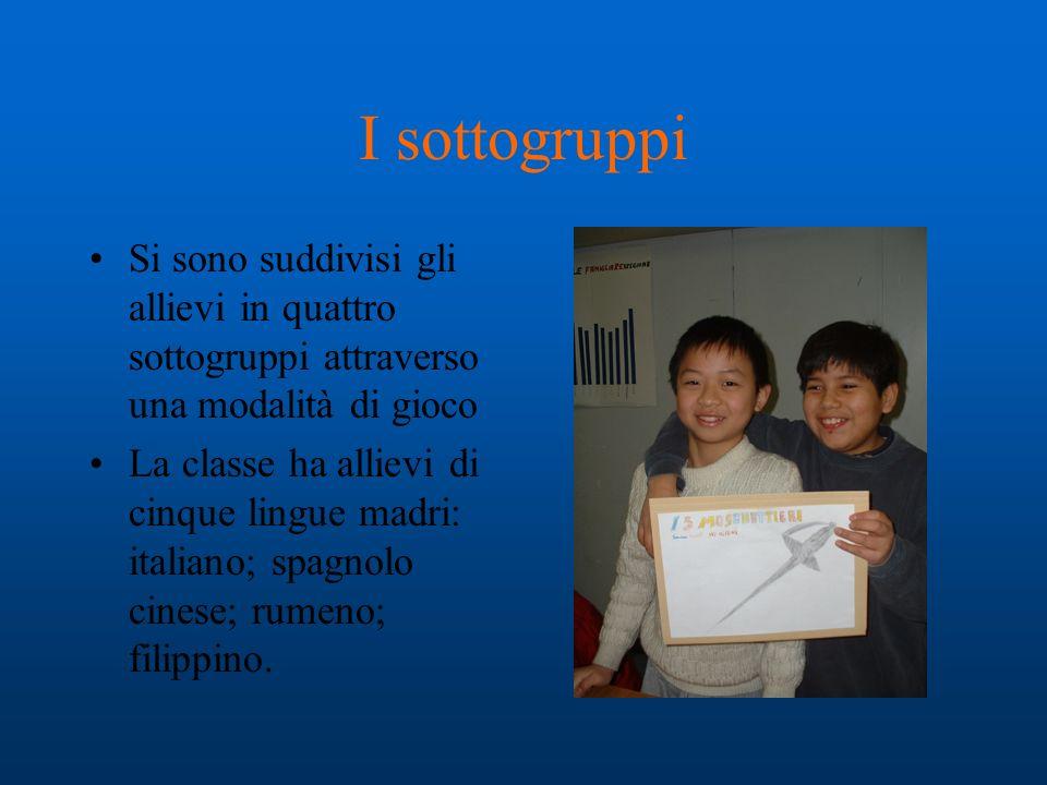 I sottogruppi Si sono suddivisi gli allievi in quattro sottogruppi attraverso una modalità di gioco La classe ha allievi di cinque lingue madri: italiano; spagnolo cinese; rumeno; filippino.