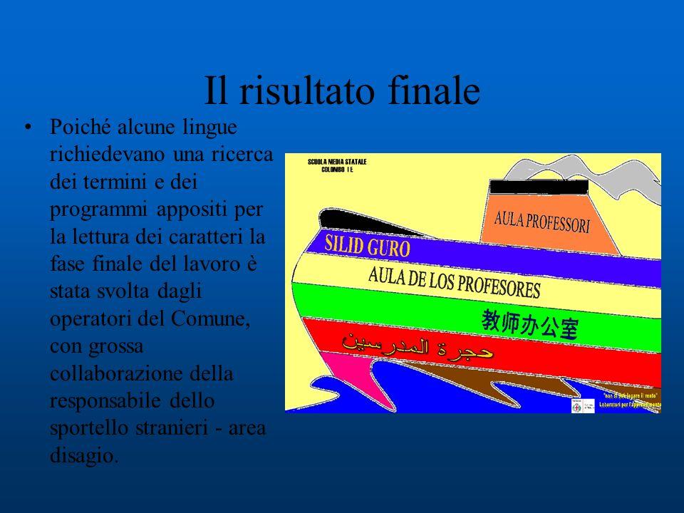 Ogni spazio è stato denominato in tutte e cinque le lingue rappresentate nella classe aggiungendo larabo come lingua largamente rappresentata in Italia