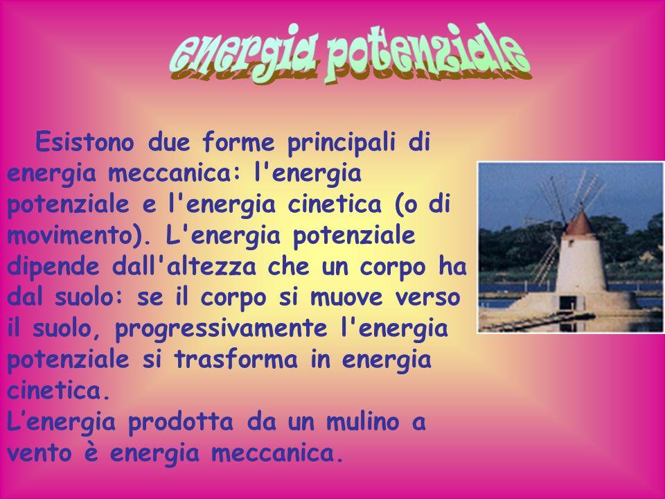 Esistono due forme principali di energia meccanica: l'energia potenziale e l'energia cinetica (o di movimento). L'energia potenziale dipende dall'alte