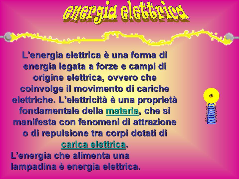 L'energia elettrica è una forma di energia legata a forze e campi di origine elettrica, ovvero che coinvolge il movimento di cariche elettriche. L'ele