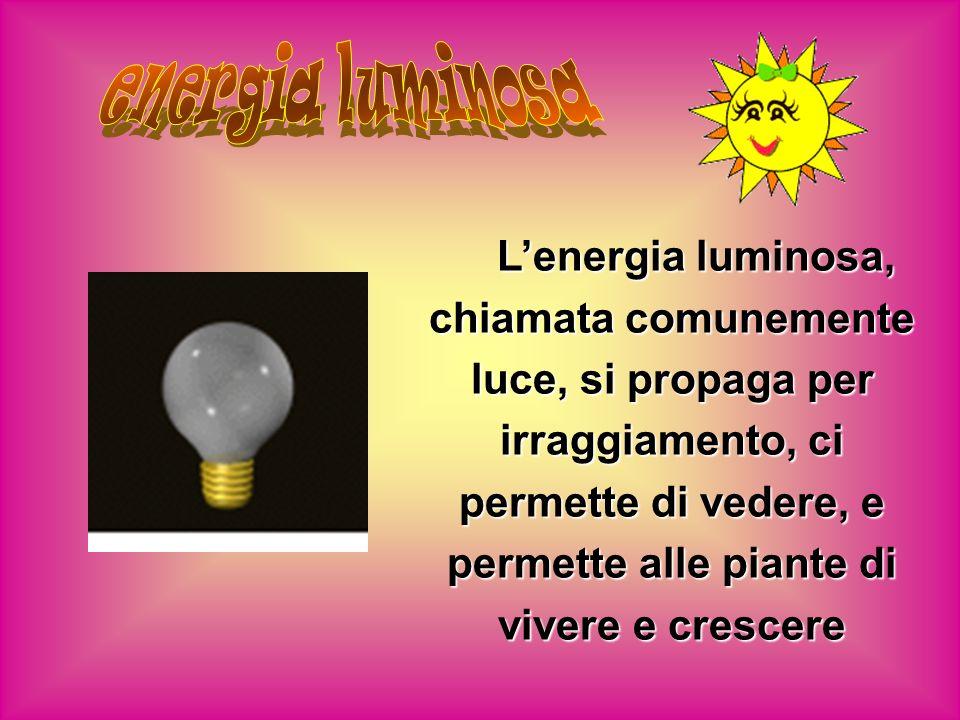 Lenergia luminosa, chiamata comunemente luce, si propaga per irraggiamento, ci permette di vedere, e permette alle piante di vivere e crescere
