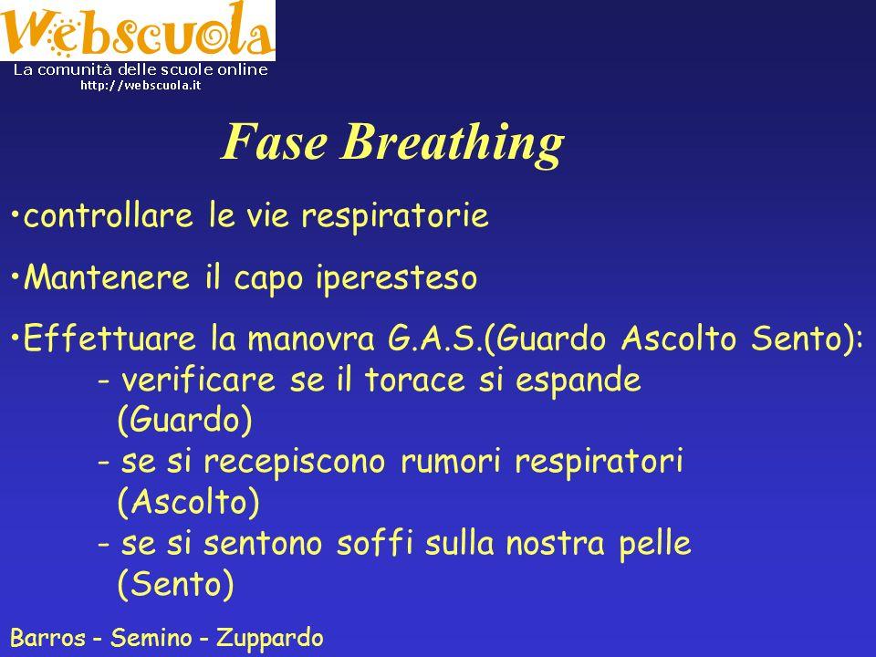 Fase Airway - Perveità delle vie aeree - controllare le vie respiratorie evitare che l'infortunato soffochi IPERESTENSIONE DEL CAPO. Barros - Semino -