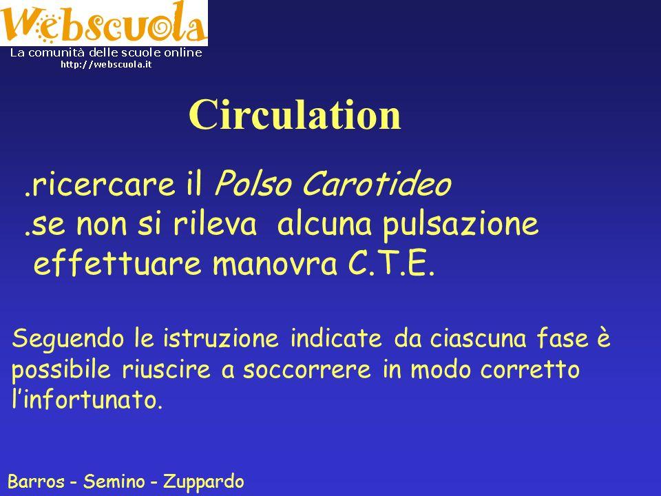 Fase Breathing controllare le vie respiratorie Mantenere il capo iperesteso Effettuare la manovra G.A.S.(Guardo Ascolto Sento): - verificare se il torace si espande (Guardo) - se si recepiscono rumori respiratori (Ascolto) - se si sentono soffi sulla nostra pelle (Sento) Barros - Semino - Zuppardo