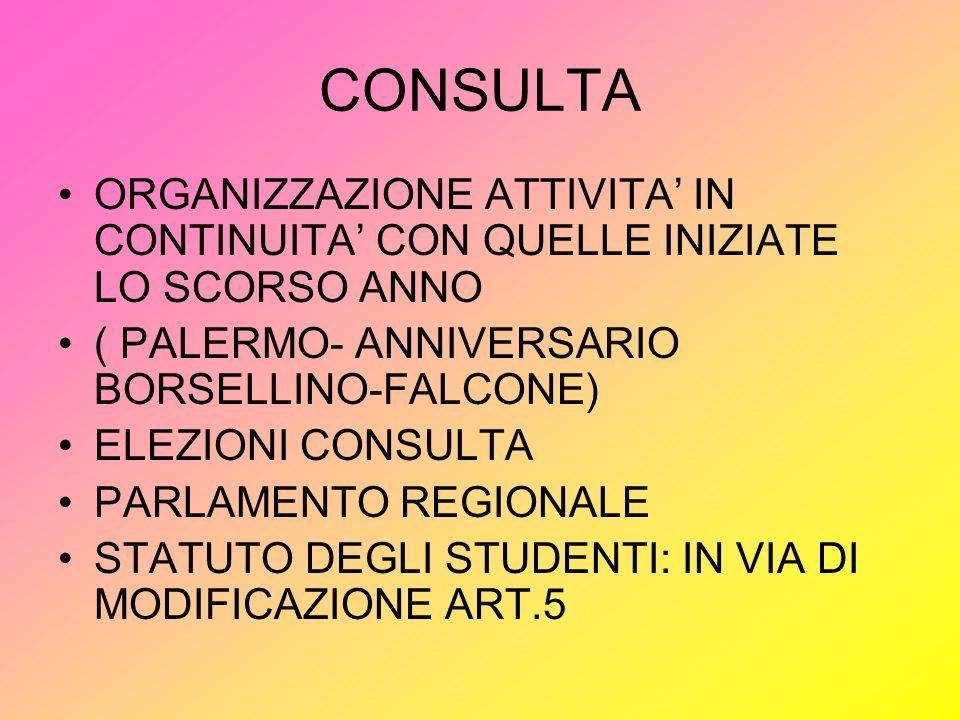 CONSULTA ORGANIZZAZIONE ATTIVITA IN CONTINUITA CON QUELLE INIZIATE LO SCORSO ANNO ( PALERMO- ANNIVERSARIO BORSELLINO-FALCONE) ELEZIONI CONSULTA PARLAMENTO REGIONALE STATUTO DEGLI STUDENTI: IN VIA DI MODIFICAZIONE ART.5