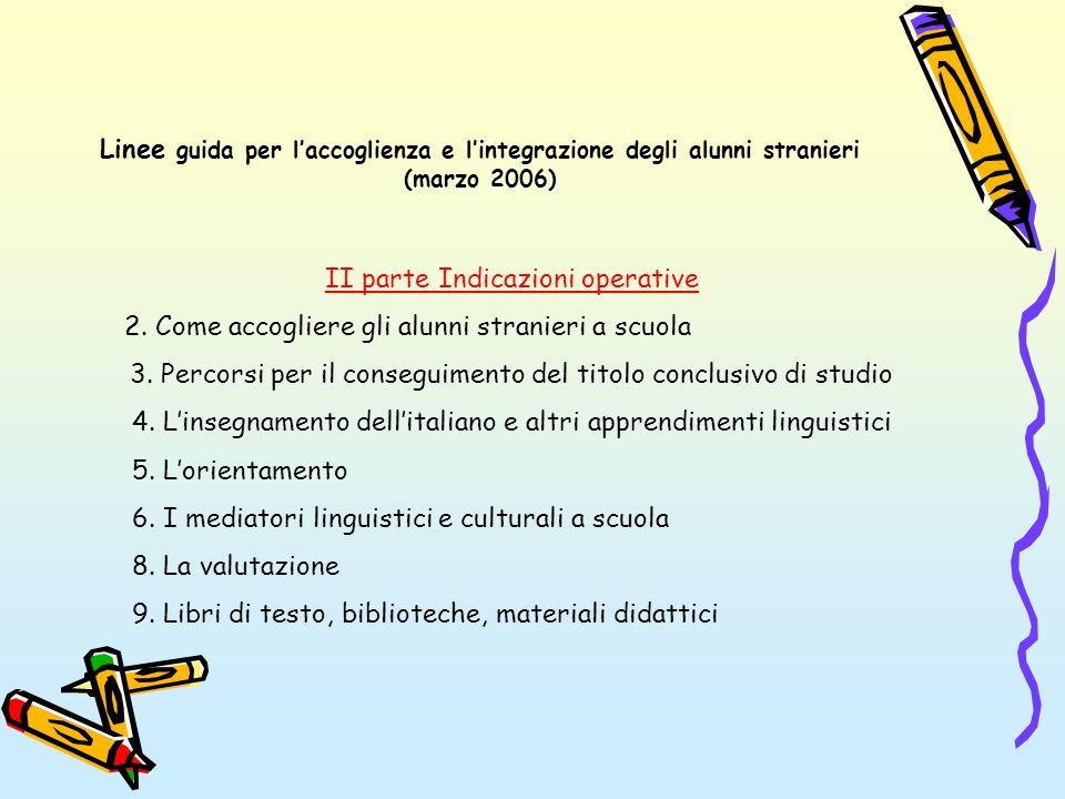 Linee guida per laccoglienza e lintegrazione degli alunni stranieri (marzo 2006) II parte Indicazioni operative 2. Come accogliere gli alunni stranier