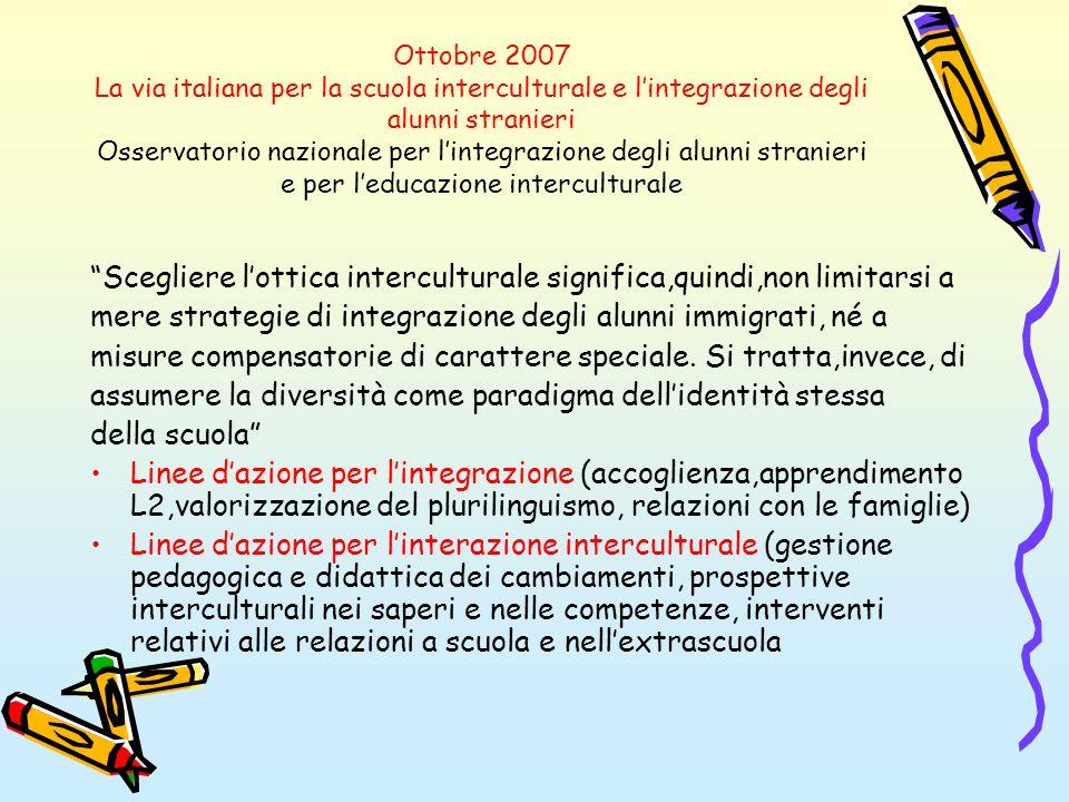 Ottobre 2007 La via italiana per la scuola interculturale e lintegrazione degli alunni stranieri Osservatorio nazionale per lintegrazione degli alunni