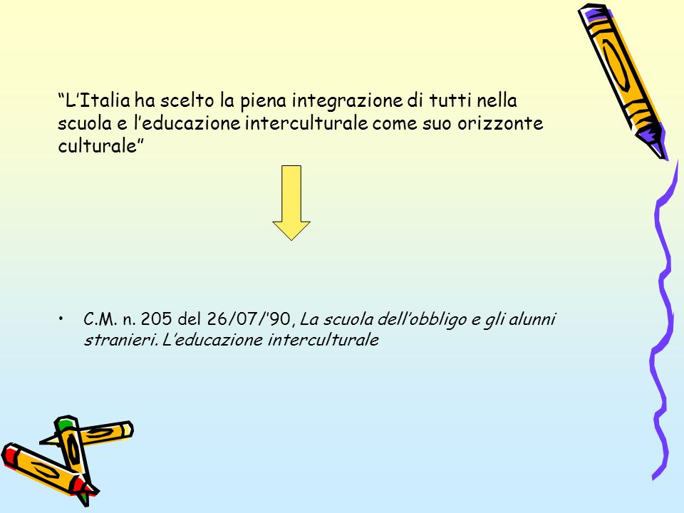 LItalia ha scelto la piena integrazione di tutti nella scuola e leducazione interculturale come suo orizzonte culturale C.M. n. 205 del 26/07/90, La s