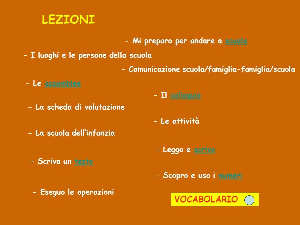 LEZIONI - Mi preparo per andare a scuola - I luoghi e le persone della scuola - Comunicazione scuola/famiglia-famiglia/scuola - Le assemblee - Il coll