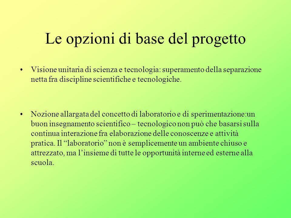 Le opzioni di base del progetto Visione unitaria di scienza e tecnologia: superamento della separazione netta fra discipline scientifiche e tecnologiche.