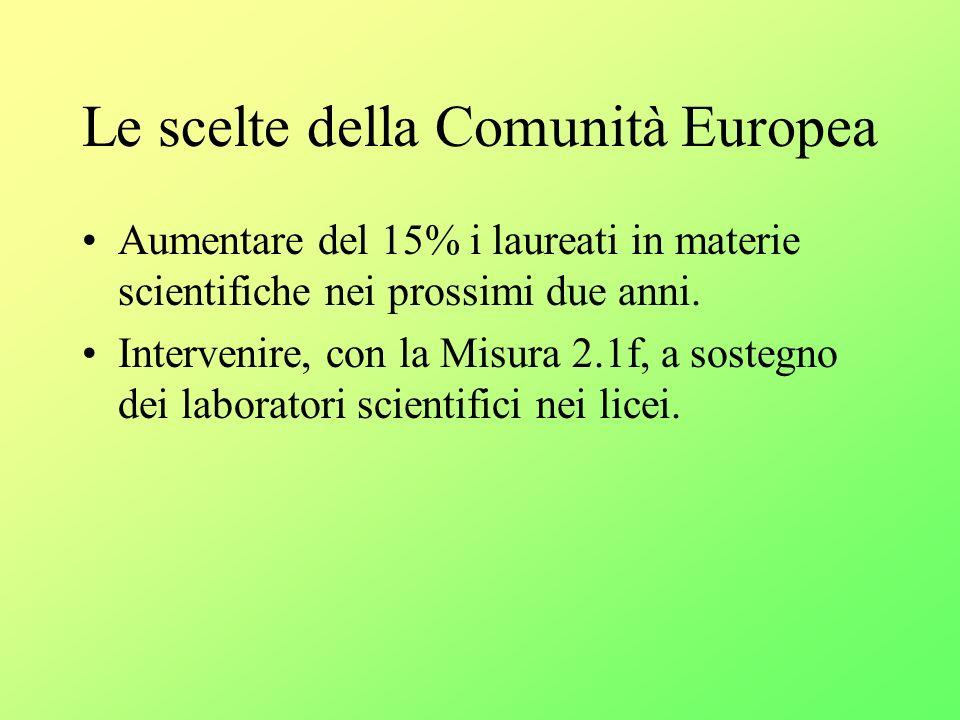 Le scelte della Comunità Europea Aumentare del 15% i laureati in materie scientifiche nei prossimi due anni.