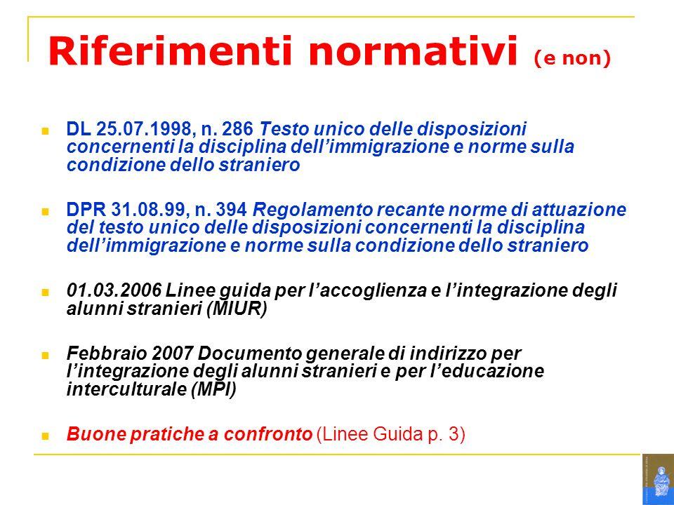 Riferimenti normativi (e non) DL 25.07.1998, n.