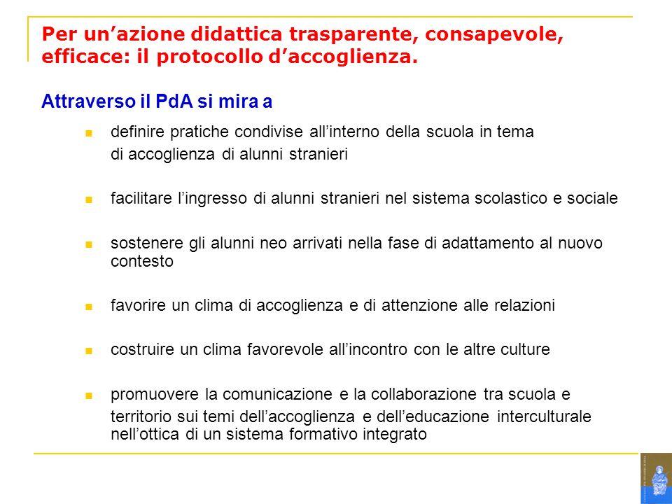 Per unazione didattica trasparente, consapevole, efficace: il protocollo daccoglienza.