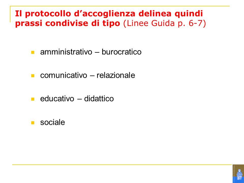 Il protocollo daccoglienza delinea quindi prassi condivise di tipo (Linee Guida p.