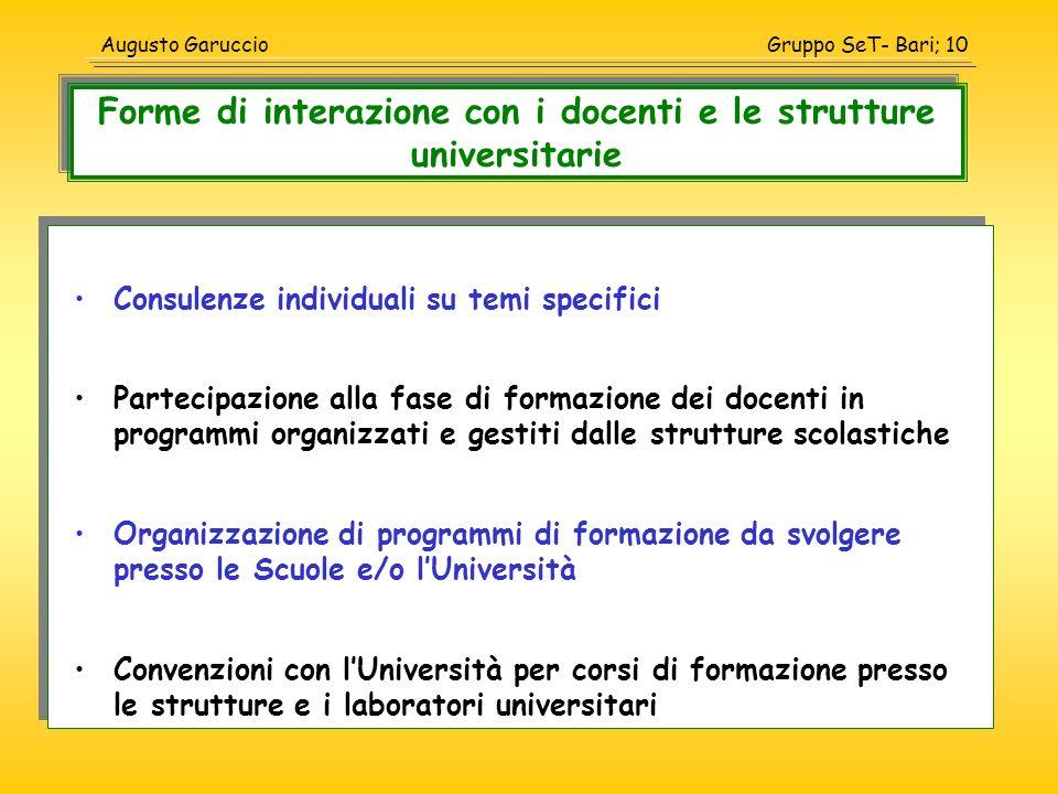 Gruppo SeT- Bari; 10Augusto Garuccio Consulenze individuali su temi specifici Partecipazione alla fase di formazione dei docenti in programmi organizz