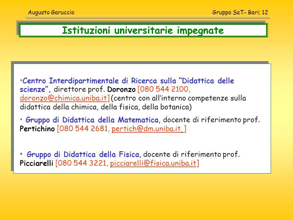 Gruppo SeT- Bari; 12Augusto Garuccio Centro Interdipartimentale di Ricerca sulla Didattica delle scienze, direttore prof. Doronzo [080 544 2100, doron