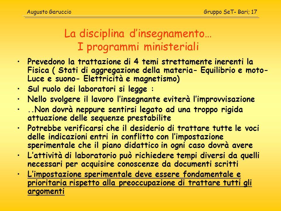 Gruppo SeT- Bari; 17Augusto Garuccio La disciplina dinsegnamento… I programmi ministeriali Prevedono la trattazione di 4 temi strettamente inerenti la