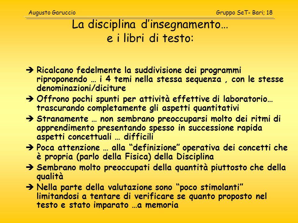 Gruppo SeT- Bari; 18Augusto Garuccio La disciplina dinsegnamento… e i libri di testo: Ricalcano fedelmente la suddivisione dei programmi riproponendo