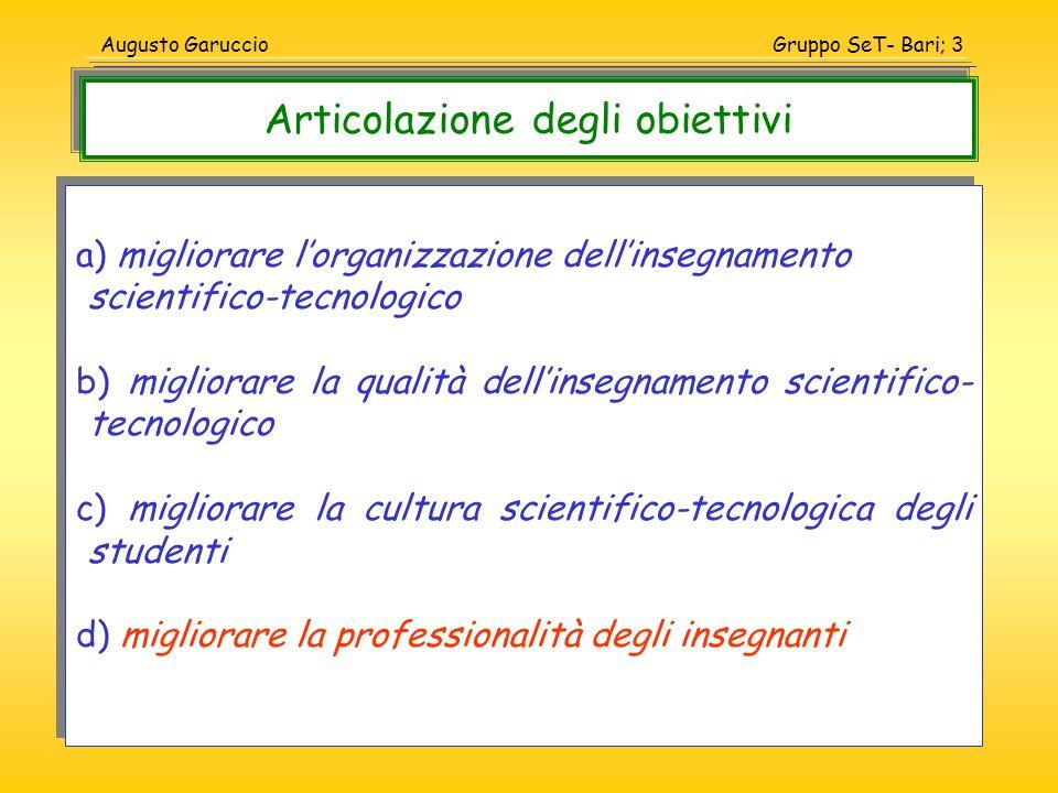 Gruppo SeT- Bari; 14Augusto Garuccio Un punto fondamentale sul quale la collocazione scolastica dei saperi deve essere rimessa in discussione è il rapporto fra scienza e tecnologia.