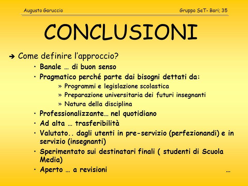 Gruppo SeT- Bari; 35Augusto Garuccio CONCLUSIONI Come definire lapproccio? Banale … di buon senso Pragmatico perché parte dai bisogni dettati da: »Pro