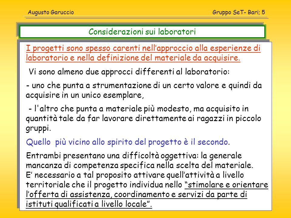 Gruppo SeT- Bari; 6Augusto Garuccio La realizzazione di un progetto coinvolgente un laboratorio è unoperazione delicata che richiede tempi propri di elaborazione del progetto, di acquisizione del materiale, di sperimentazione delle esperienze prima da parte dei docenti stessi e solo dopo con gli alunni.