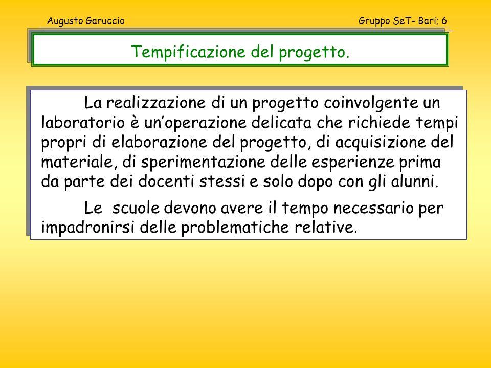 Gruppo SeT- Bari; 6Augusto Garuccio La realizzazione di un progetto coinvolgente un laboratorio è unoperazione delicata che richiede tempi propri di e