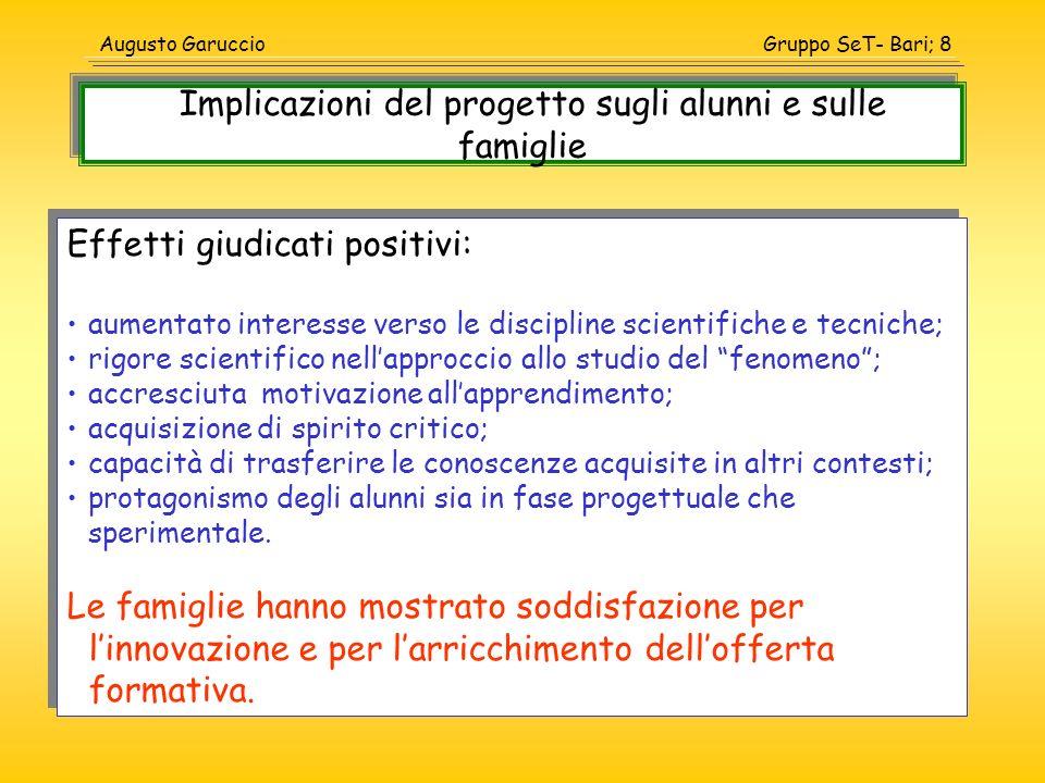 Gruppo SeT- Bari; 8Augusto Garuccio Effetti giudicati positivi: aumentato interesse verso le discipline scientifiche e tecniche; rigore scientifico ne