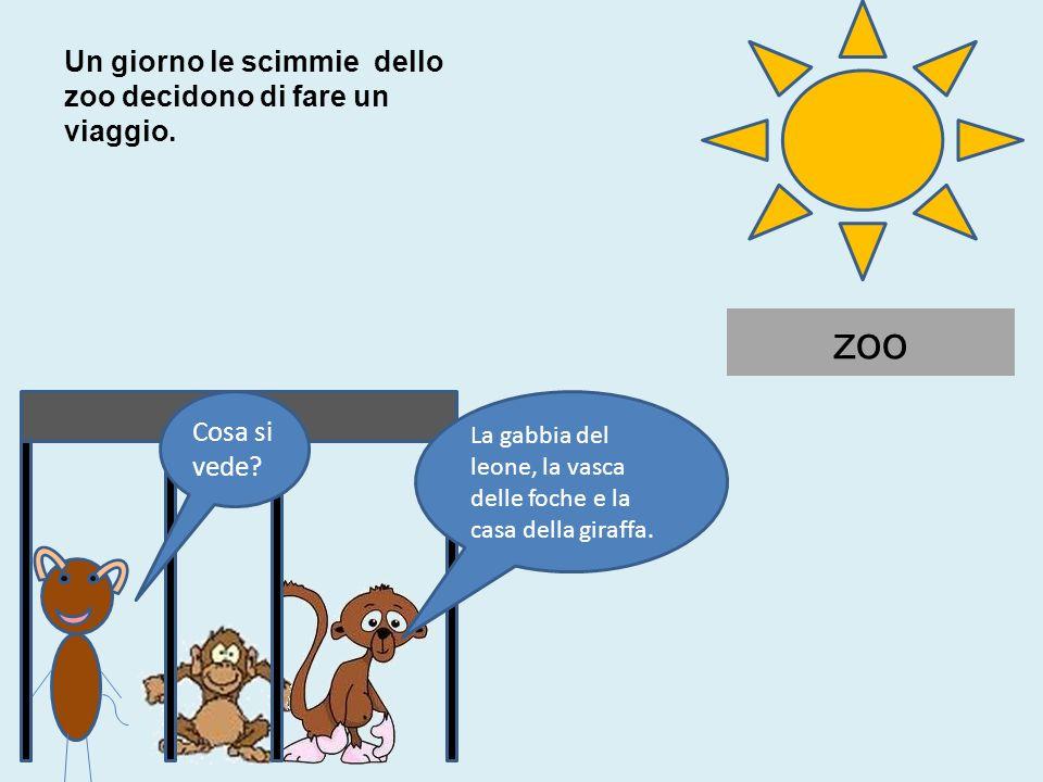 zoo Cosa si vede? La gabbia del leone, la vasca delle foche e la casa della giraffa. Un giorno le scimmie dello zoo decidono di fare un viaggio.