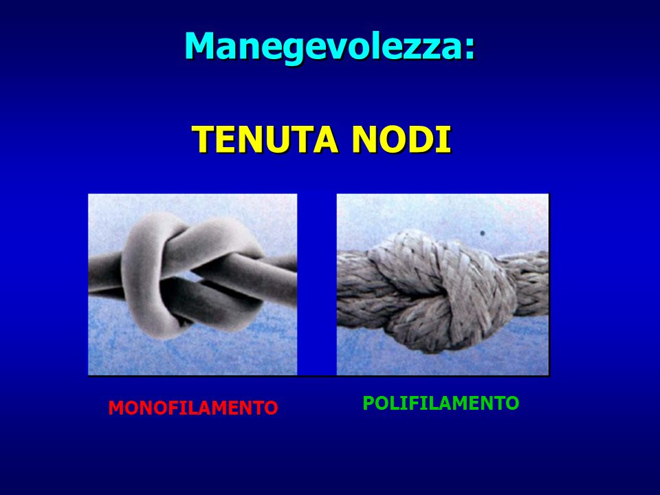 TENUTA NODI Manegevolezza: MONOFILAMENTO POLIFILAMENTO