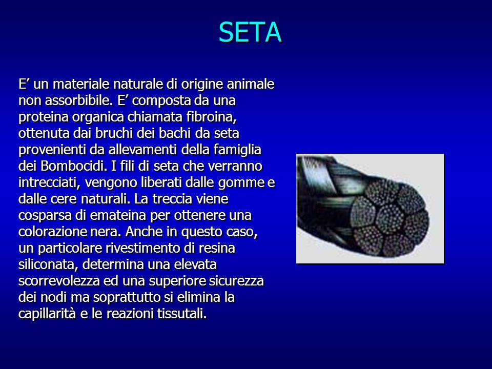 SETA E un materiale naturale di origine animale non assorbibile. E composta da una proteina organica chiamata fibroina, ottenuta dai bruchi dei bachi
