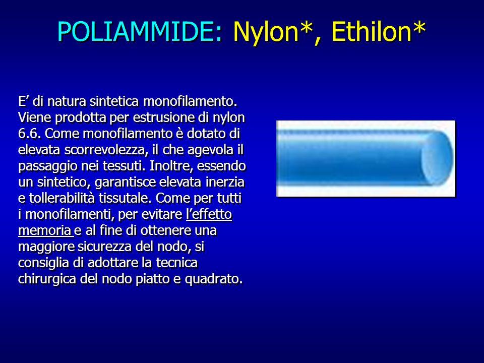 POLIAMMIDE: Nylon*, Ethilon* E di natura sintetica monofilamento. Viene prodotta per estrusione di nylon 6.6. Come monofilamento è dotato di elevata s