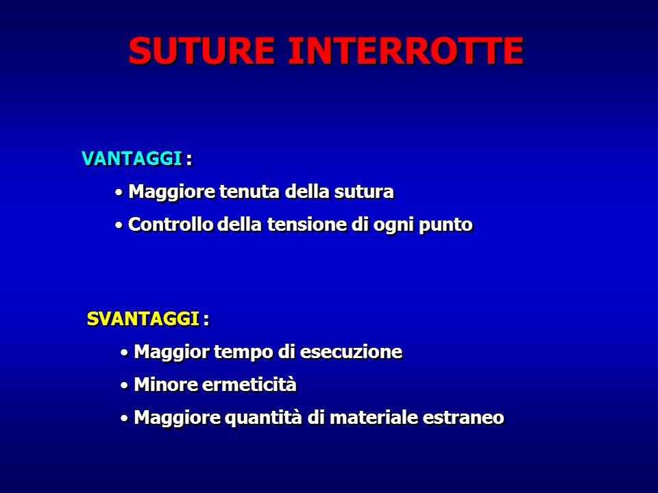 SUTURE INTERROTTE VANTAGGI : Maggiore tenuta della sutura Controllo della tensione di ogni punto VANTAGGI : Maggiore tenuta della sutura Controllo del