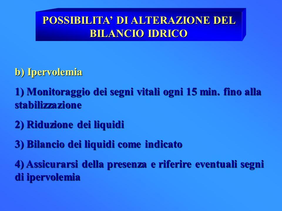 POSSIBILITA DI ALTERAZIONE DEL BILANCIO IDRICO b) Ipervolemia 1) Monitoraggio dei segni vitali ogni 15 min. fino alla stabilizzazione 2) Riduzione dei
