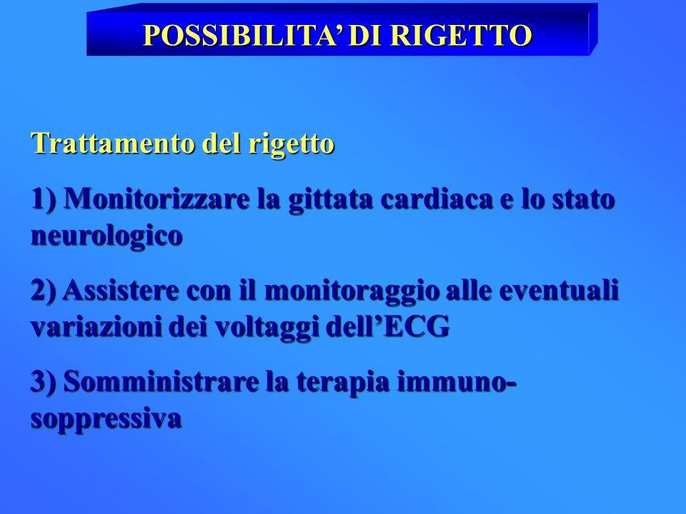 POSSIBILITA DI RIGETTO Trattamento del rigetto 1) Monitorizzare la gittata cardiaca e lo stato neurologico 2) Assistere con il monitoraggio alle event