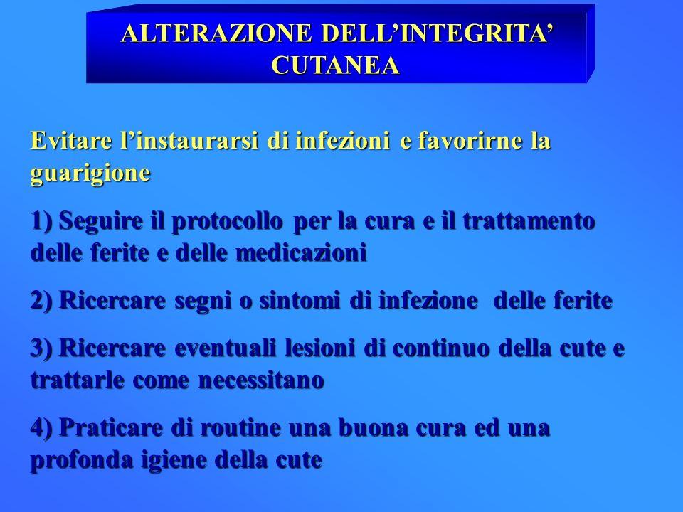 ALTERAZIONE DELLINTEGRITA CUTANEA Evitare linstaurarsi di infezioni e favorirne la guarigione 1) Seguire il protocollo per la cura e il trattamento de