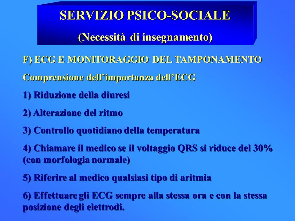 SERVIZIO PSICO-SOCIALE (Necessità di insegnamento) F) ECG E MONITORAGGIO DEL TAMPONAMENTO Comprensione dellimportanza dellECG 1) Riduzione della diure