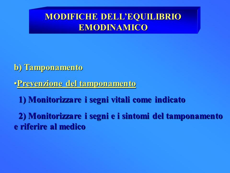 MODIFICHE DELLEQUILIBRIO EMODINAMICO b) Tamponamento Prevenzione del tamponamentoPrevenzione del tamponamento 1) Monitorizzare i segni vitali come ind