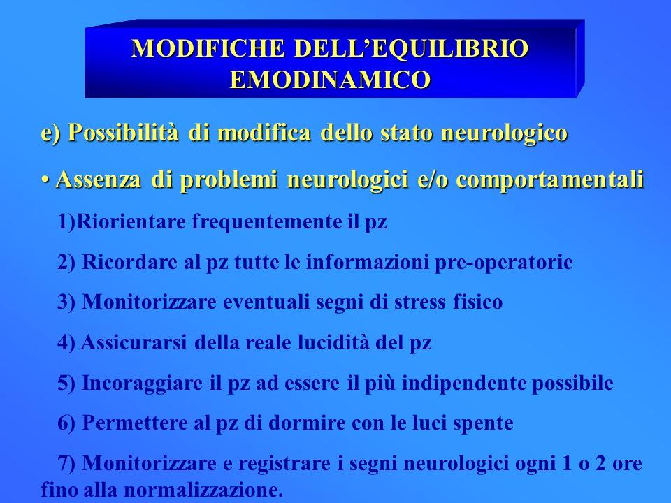 MODIFICHE DELLEQUILIBRIO EMODINAMICO e) Possibilità di modifica dello stato neurologico Assenza di problemi neurologici e/o comportamentali Assenza di