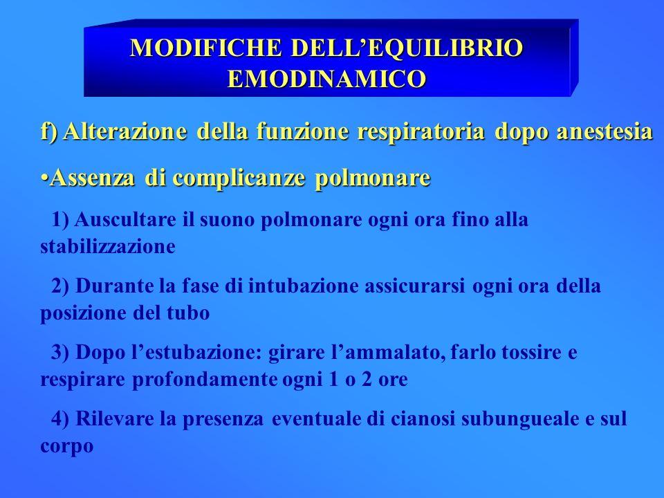 MODIFICHE DELLEQUILIBRIO EMODINAMICO f) Alterazione della funzione respiratoria dopo anestesia Assenza di complicanze polmonareAssenza di complicanze