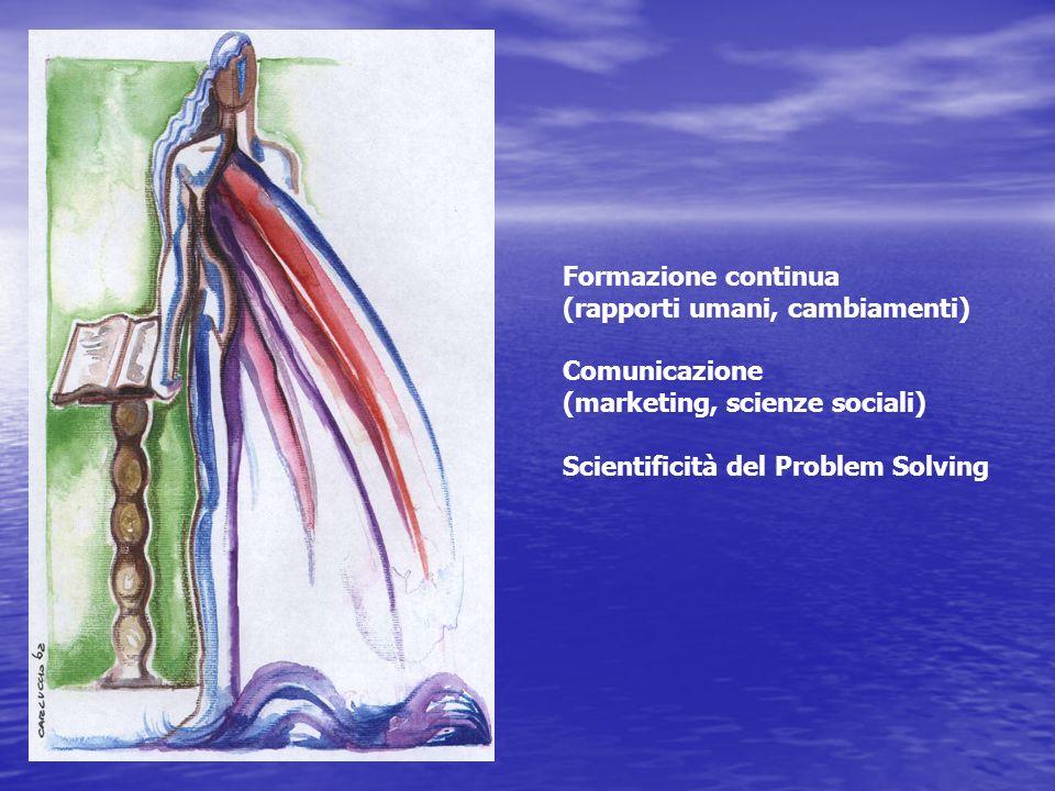 Formazione continua (rapporti umani, cambiamenti) Comunicazione (marketing, scienze sociali) Scientificità del Problem Solving