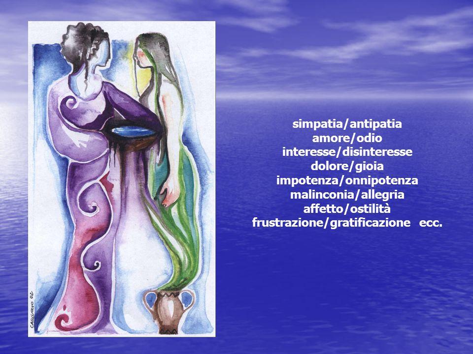 simpatia/antipatia amore/odio interesse/disinteresse dolore/gioia impotenza/onnipotenza malinconia/allegria affetto/ostilità frustrazione/gratificazio