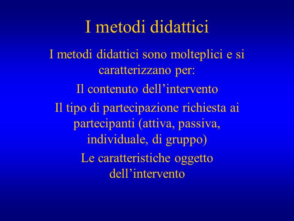 I metodi didattici I metodi didattici sono molteplici e si caratterizzano per: Il contenuto dellintervento Il tipo di partecipazione richiesta ai part