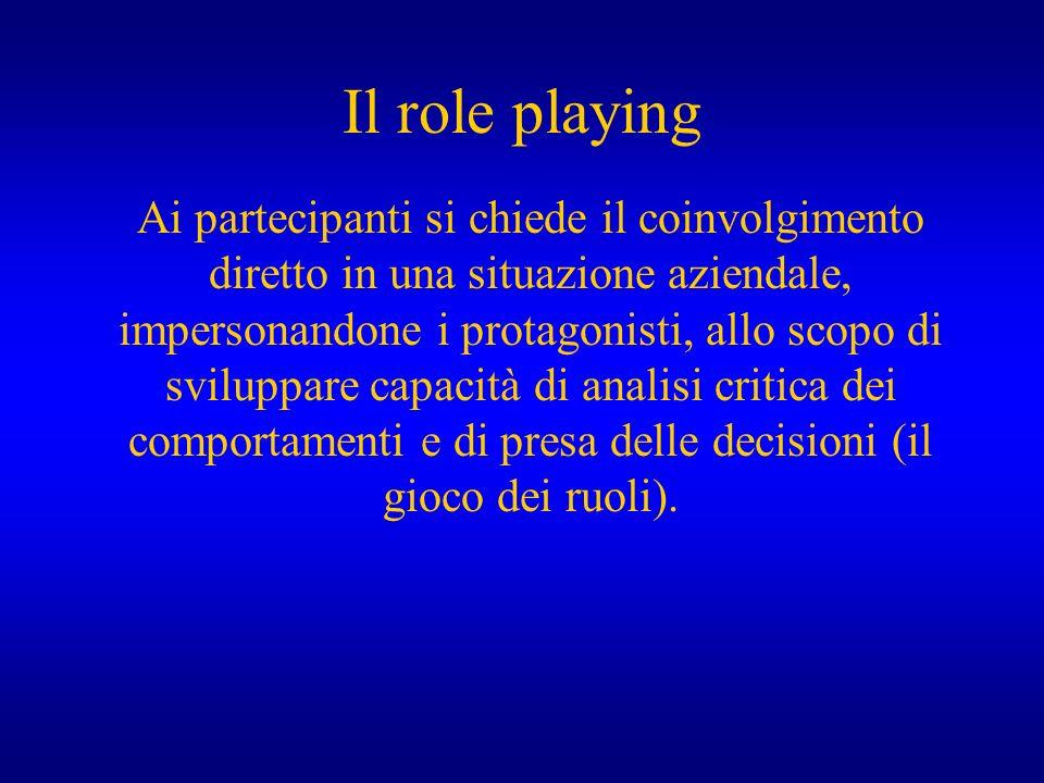 Il role playing Ai partecipanti si chiede il coinvolgimento diretto in una situazione aziendale, impersonandone i protagonisti, allo scopo di sviluppa